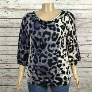 Lane Bryant Ombre Animal Print Ruched Sweater Plus